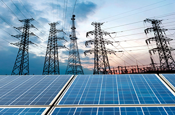 27367652 - photovoltaic cells and high voltage post.
