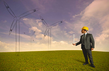 16828189 - concept of businessman that plans a wind turbine project